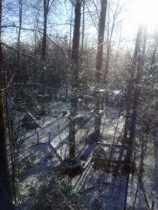 Kletterwald München, die verschneite Baustelle in Grünwald