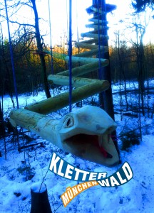 Die Schlange ist das letzte Element des Flying Fox Parcours im Kletterwald München