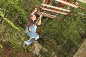 Kletterwald München Teammitglied Maria beim Rumblödeln im Kletterwald